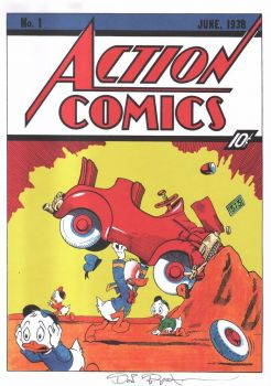 DON ROSA parody print ACTION COMICS cover #1 signed