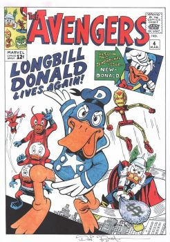 DON ROSA  parody print AVENGERS cover #4 signed