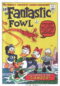 DON ROSA parody print FANTASTIC FOUR / FOWL signed